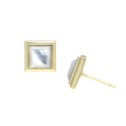 Miss CEO Gold Stud Earrings - Ivory Pearl
