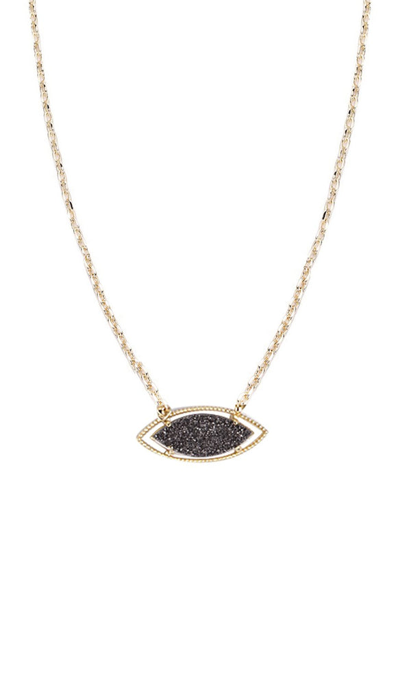 NATALIE WOOD DESIGNS She's A Gem Necklace- Grey Drusy