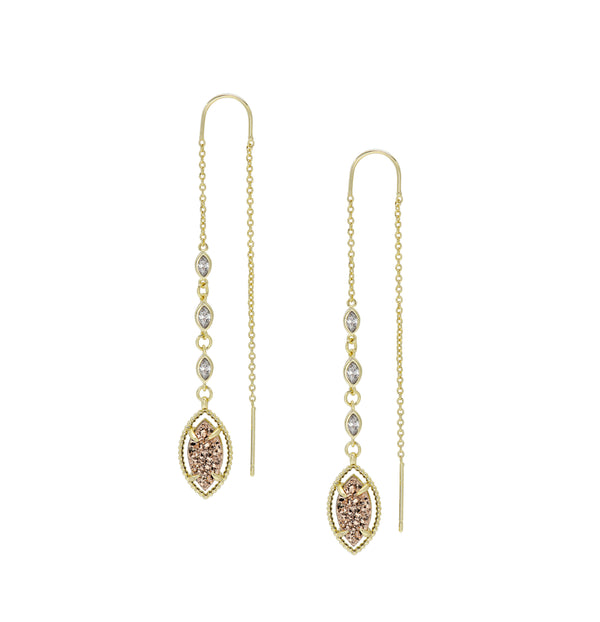 She's A Gem Ear Threaders in Rose Pink Drusy