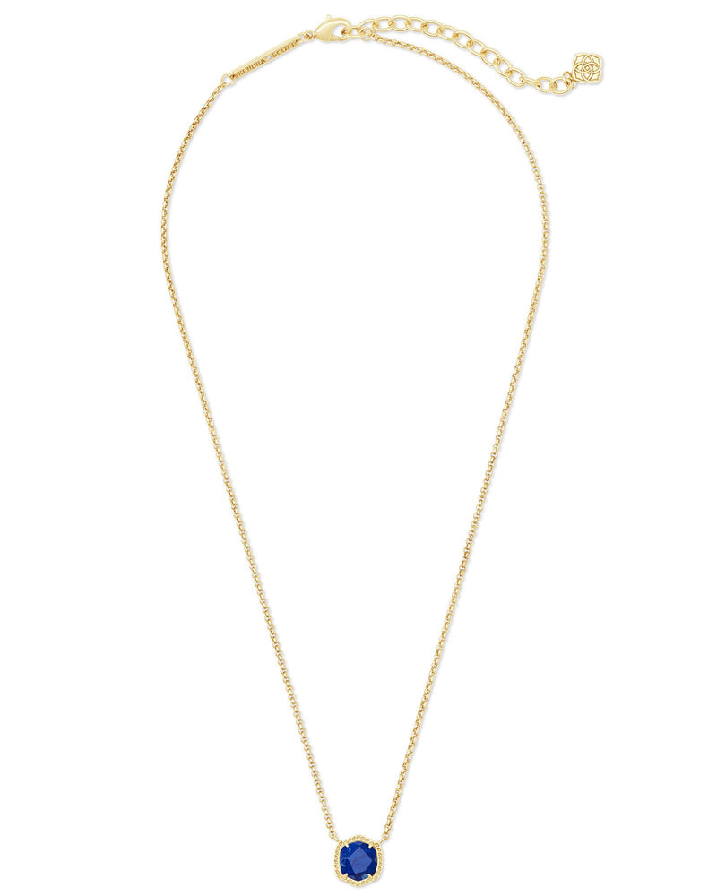 Davie Short Pendant Necklace, Gold Cobalt Howlite