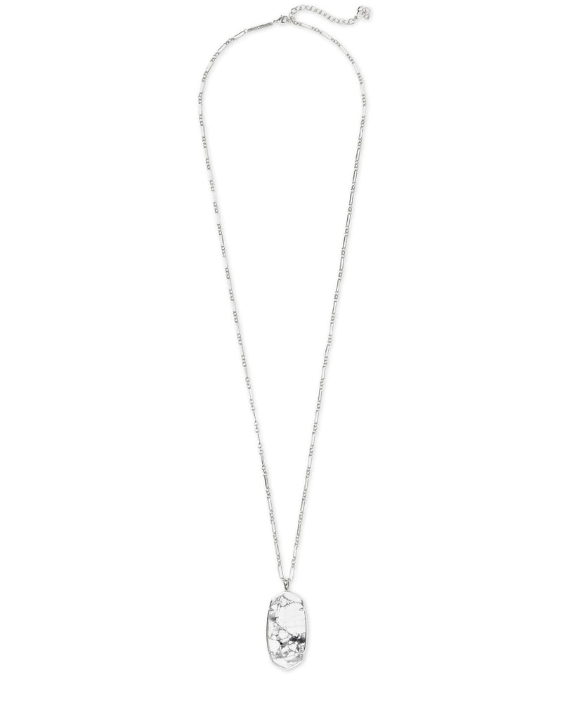 Faceted Reid Silver Long Necklace in White Howlite