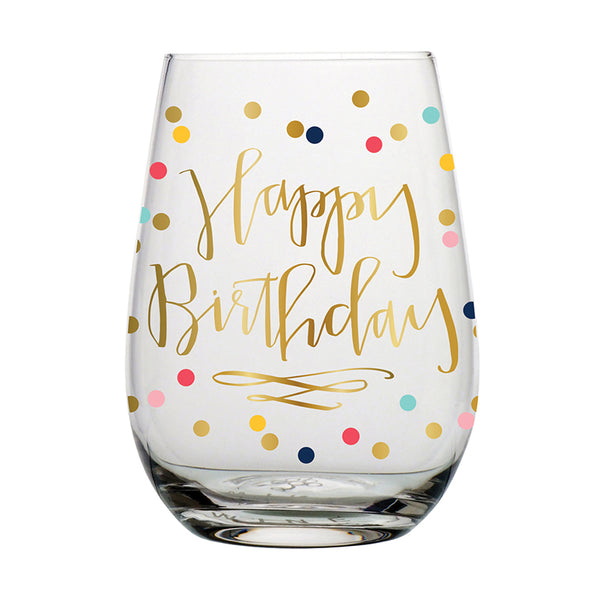 Happy Birthday Wine Glass, Dots