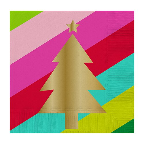 Gold Christmas Tree Beverage Napkins