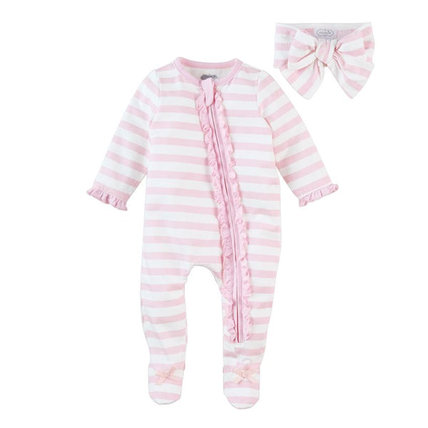 Pink Stripe Sleeper & Headband Set