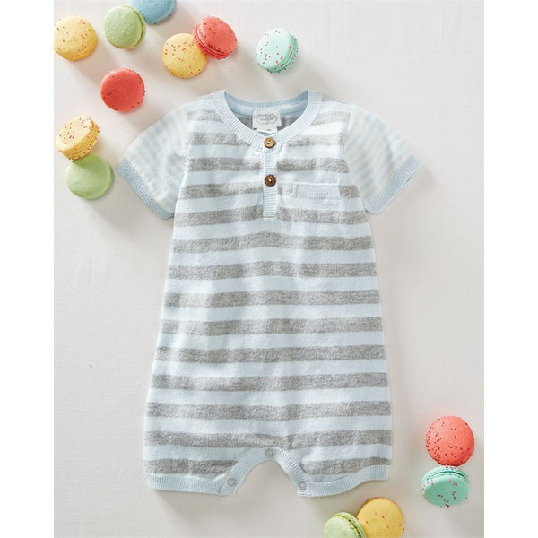 Blue Stripe Knitted Romper
