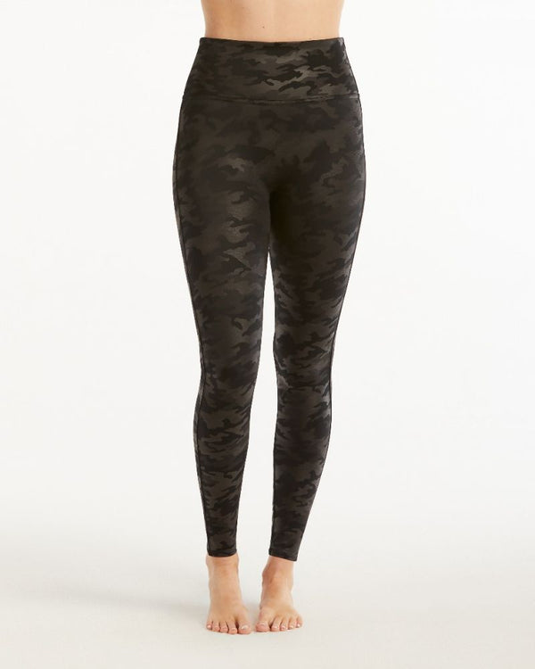 Faux Leather Leggings - Camo