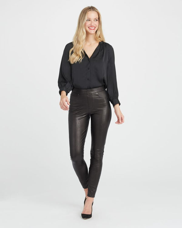 Leather-Like Skinny Ankle Pant