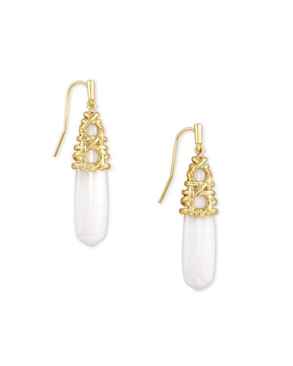Natalie Drop Earrings Gold White Mussel