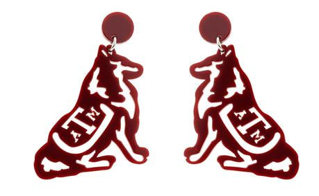 LOLA + LINA Reveille Earrings, Large - Maroon Metal
