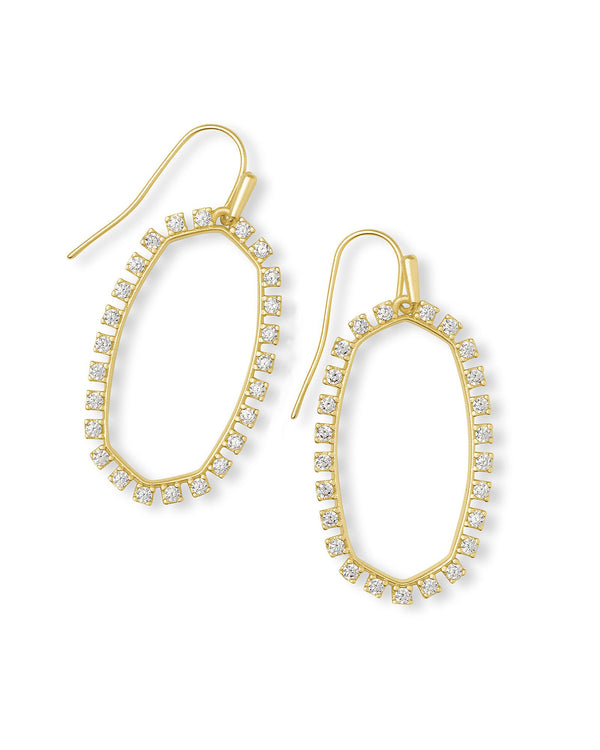 Elle Open Frame Earring, Gold White CZ