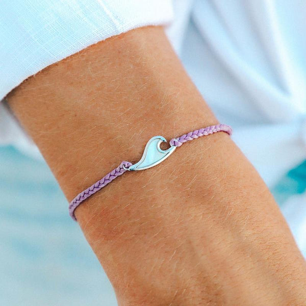 Mother of Pearl Wave Charm Bracelet, Purple