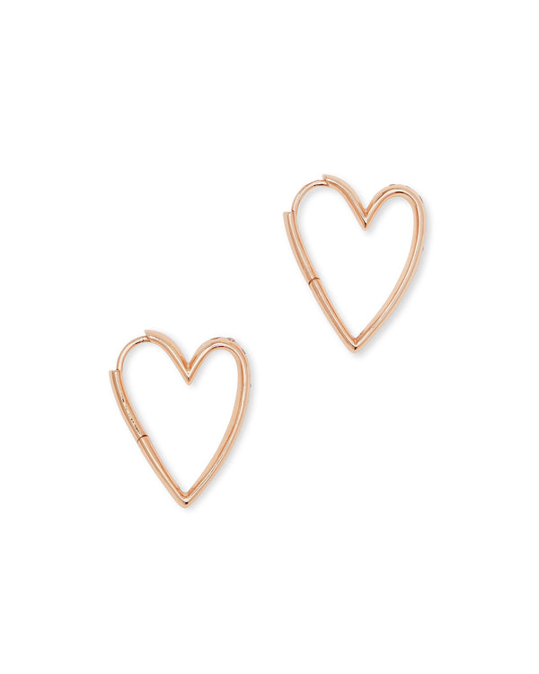 Ansley Small Hoop Earring, Rose Gold CZ