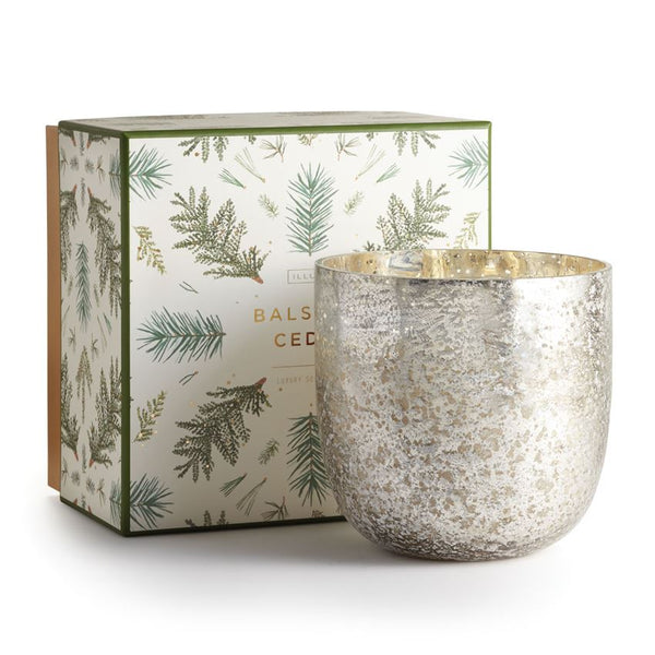 Large Winter White Luxe Sanded Mercury Glass Candle