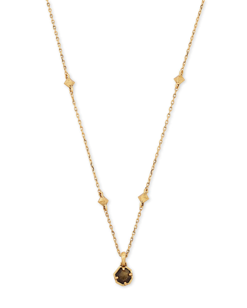 Nola Vintage Gold Short Pendant Necklace in Gold Obsidian