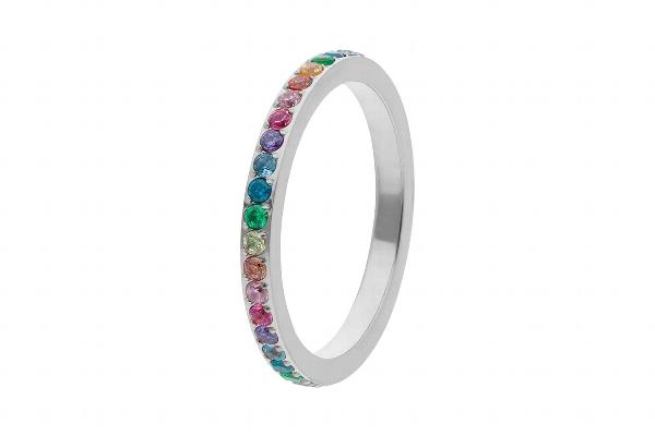 Eternity Rainbow Spacer Ring, Silver