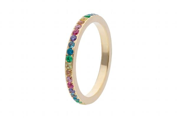 Eternity Rainbow Spacer Ring, Gold