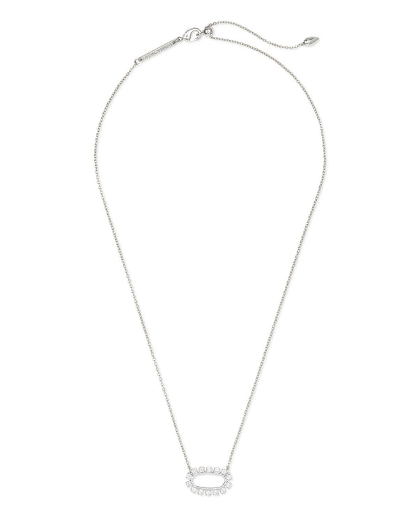 Elisa Open Frame Necklace, Silver White CZ