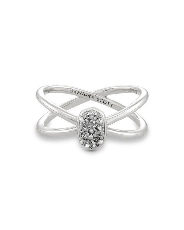 Emilie Double Band Ring, Silver Platinum Drusy