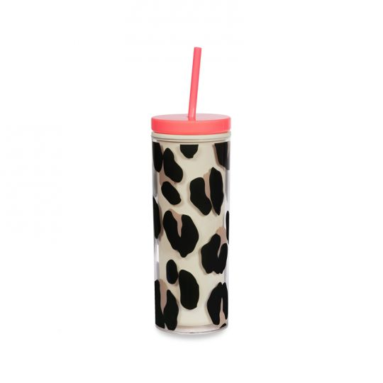 Acrylic Tumbler with Straw, Forest Feline