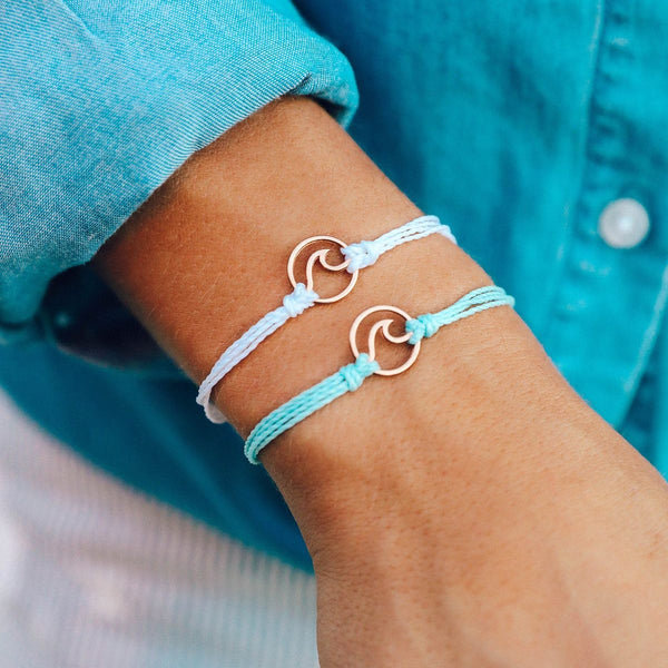 Rose Gold Wave Charm, White