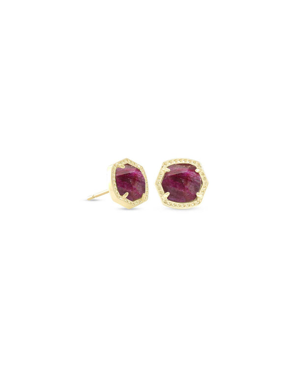 Davie Gold Stud Earrings in Raspberry Labradorite