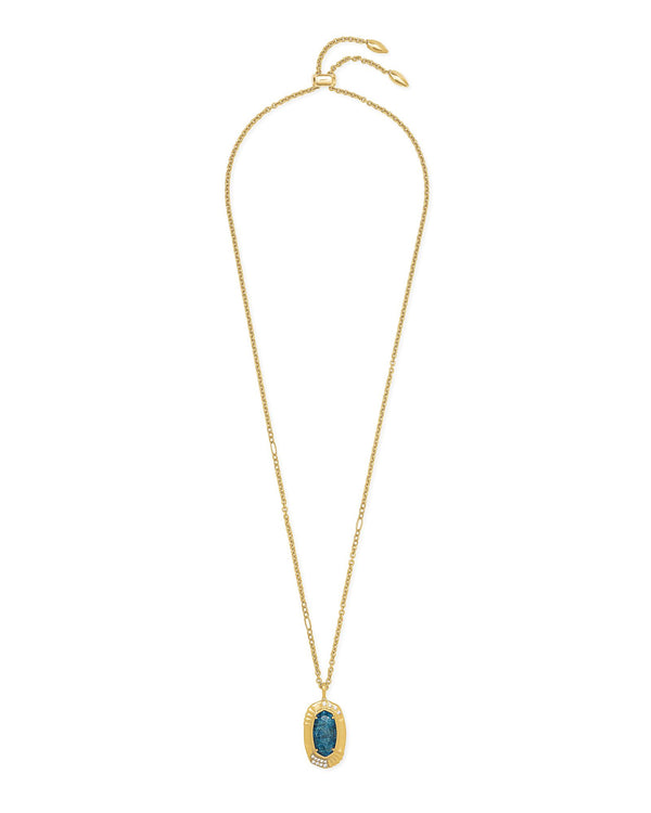 Anna Long Pendant Necklace, Vintage Gold Teal Apatite