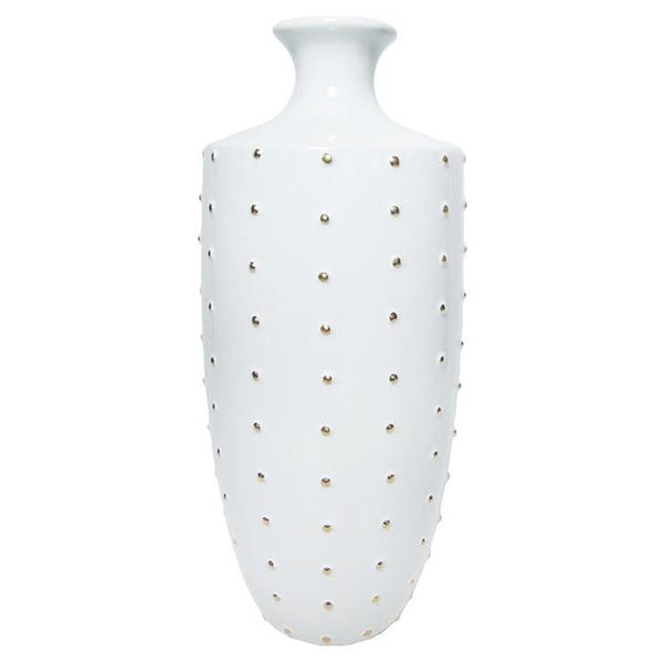 White Vase, Gold Bead Large