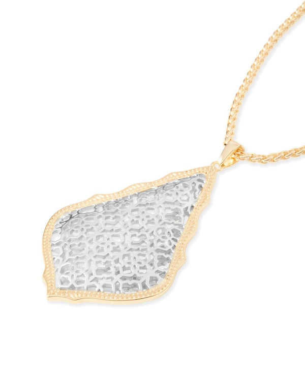 Aiden Gold Long Pendant Necklace, Silver Filigree Mix
