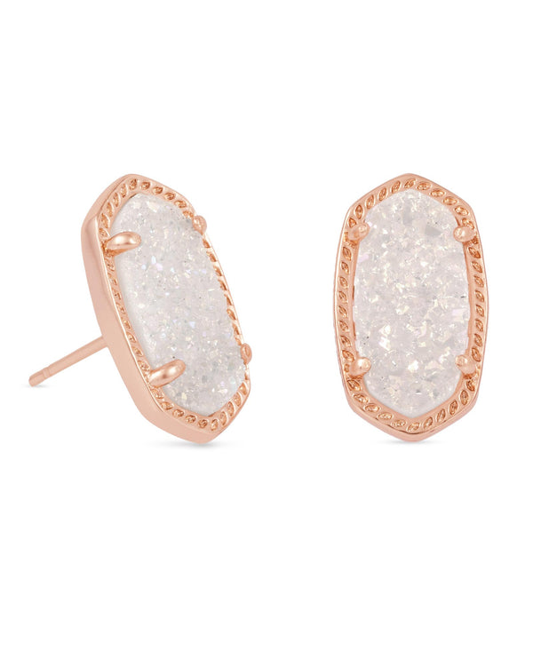 KENDRA SCOTT Ellie Rose Gold Stud Earrings In Iridescent Drusy