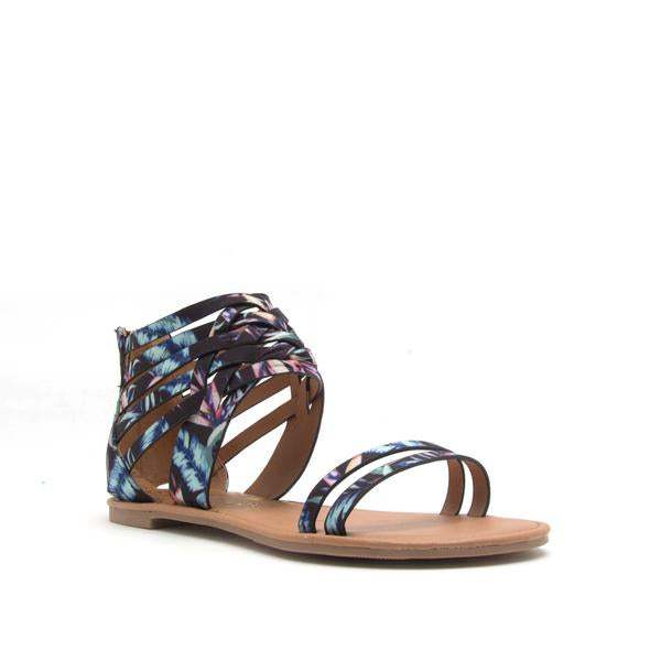 Athena Black Multi Fabric Sandal