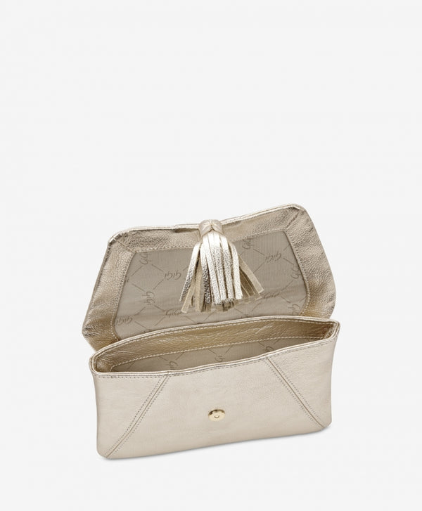 Ava Clutch, White Gold Metallic