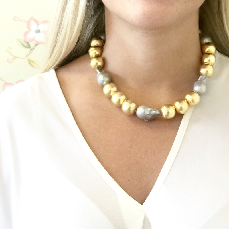 Annabelle Necklace, Gray Pearl