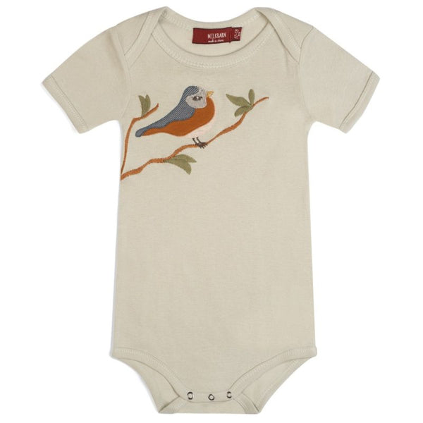 ORGANIC BLUE BIRD APPLIQUE ONE-PIECE
