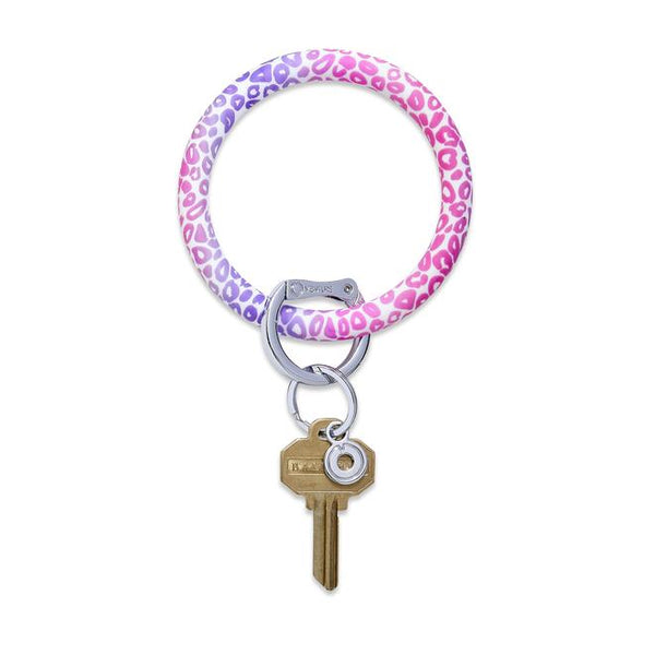 Silicone Big O Key Ring - Pink Cheetah
