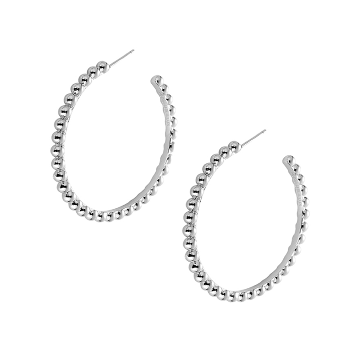 Beaded Hoop Earrings in Silver