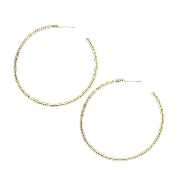 Large Beaded Hoop Earrings in Gold