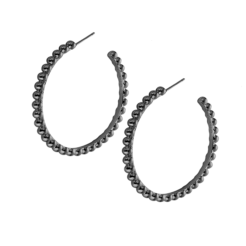 Beaded Hoop Earrings - Gunmetal