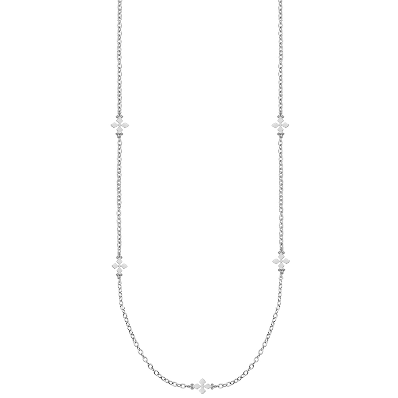 Believer Long Cross Necklace in Silver