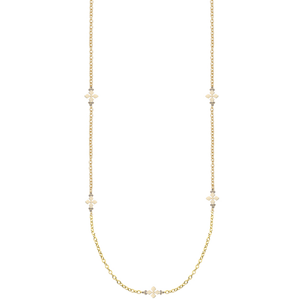 Believer Long Cross Necklace in Gold