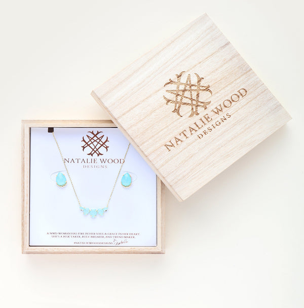 She's a Gem Gift Set, Gold Blue Chalcedony