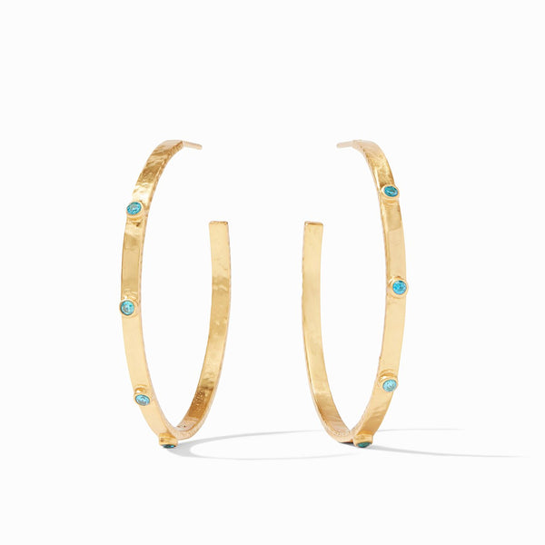 Extra Large Crescent Stone Hoop, Pacific Blue CZ