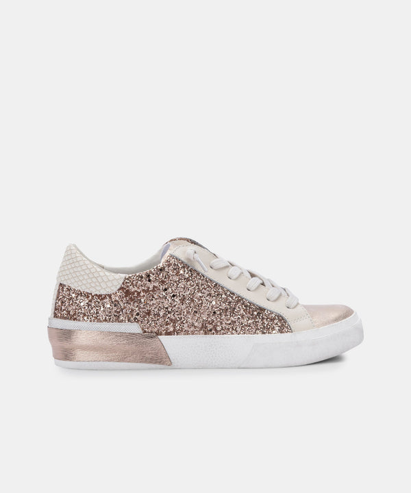 Zina Sneakers, Rose Gold Glitter