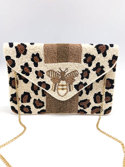 White Cheetah Bee Clutch