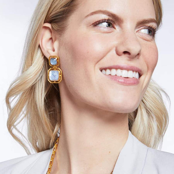Geneva Statement Earrings - Iridescent Chalcedony Blue