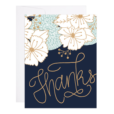 Gold Bouquet Thanks Greeting Card