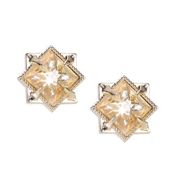 NATALIE WOOD DESIGNS Runaway Romantic Pyramid Stud Earrings in Clear Quartz, Gold