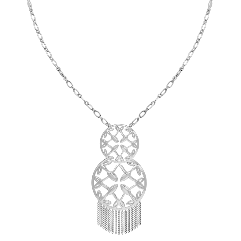 Grace Tassel Pendant Necklace in Silver