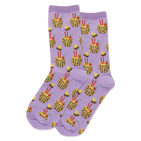 Women's Crew Socks, Pineapple Drinks