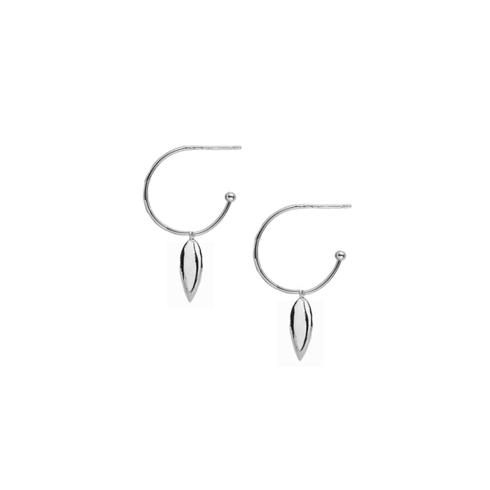 Choose Happy Mini Hoop Earrings in Silver