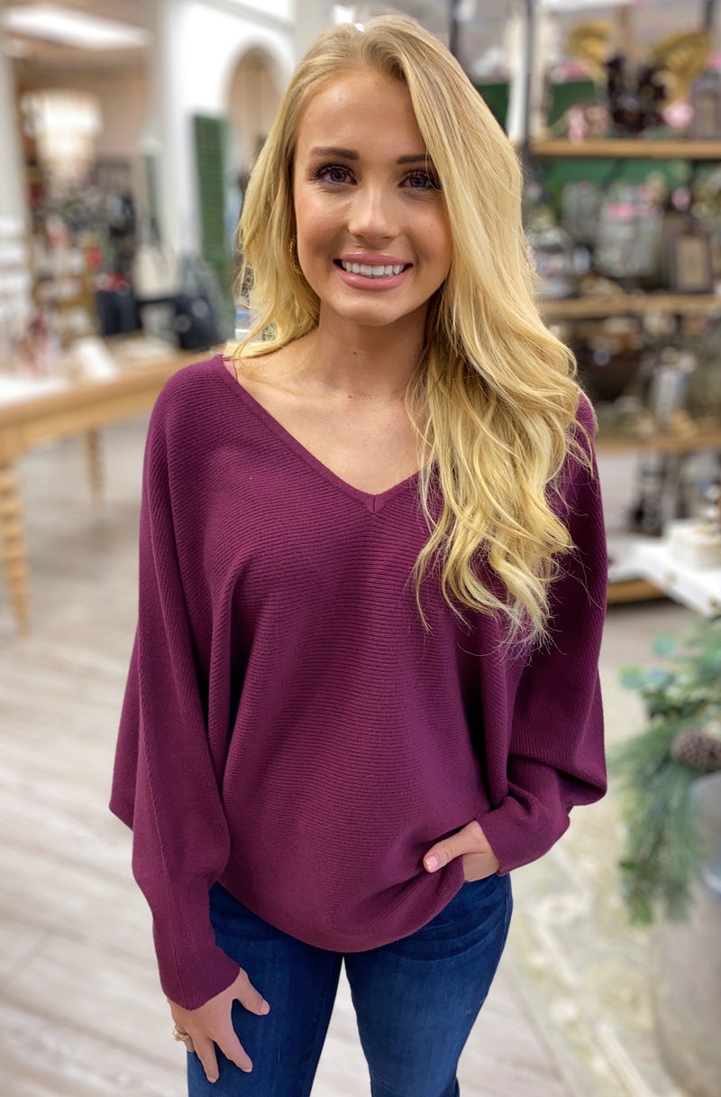Ryu V Neck Top, Bordeaux
